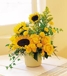 A Pot of Sunflowers